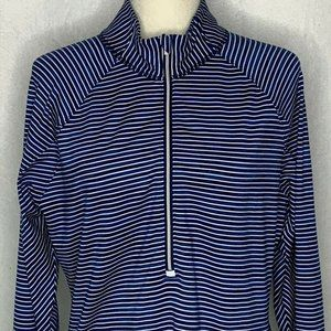 Athleta Running Wild Pullover Top XL Blue White